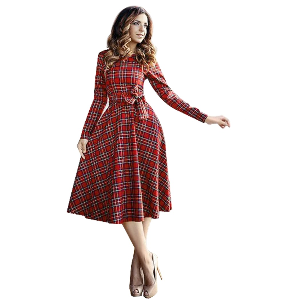 retro clothes new arrival retro online clothes store women dresses 2017 plaid belted  o-neck xmfsxeo
