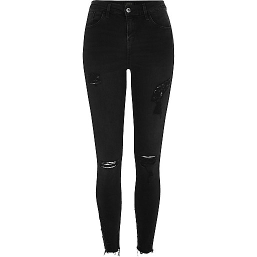 ripped black skinny jeans black washed amelie super skinny ripped jeans bvtnozy