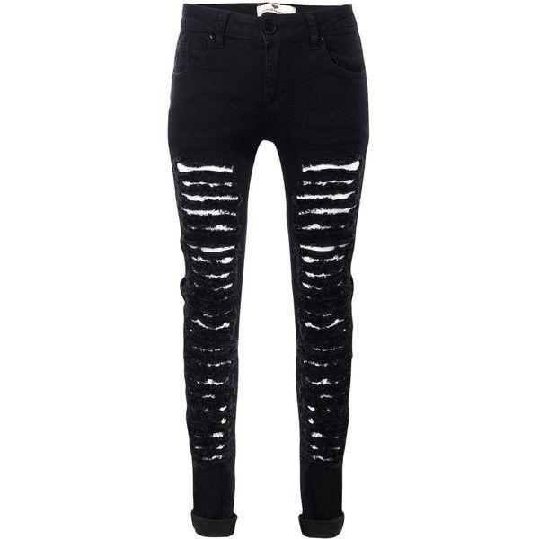 ripped black skinny jeans glostory womenu0027s ripped black skinny denim jeans distressed hole... ($17) ❤ xehxmau