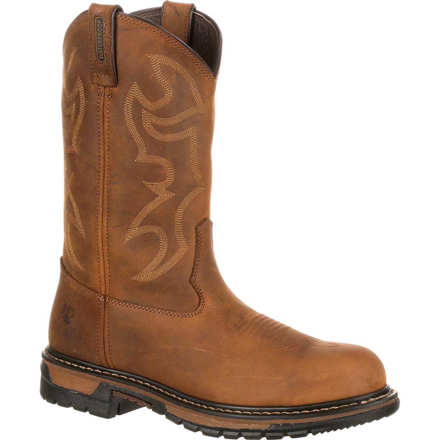 rocky boots rocky original ride branson steel toe waterproof western boots, , large hskcntk