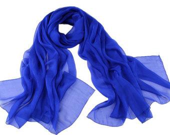 royal blue chiffon scarf - royal blue scarf - royal blue headpiece - ezxkxms