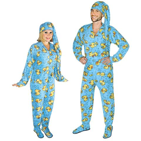 rubber ducks footed pajamas for adults with drop seat and long night cap eiwurou