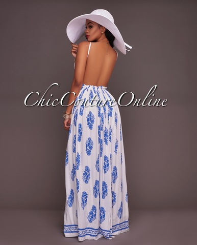 rubio white blue print open back maxi dress zialnye