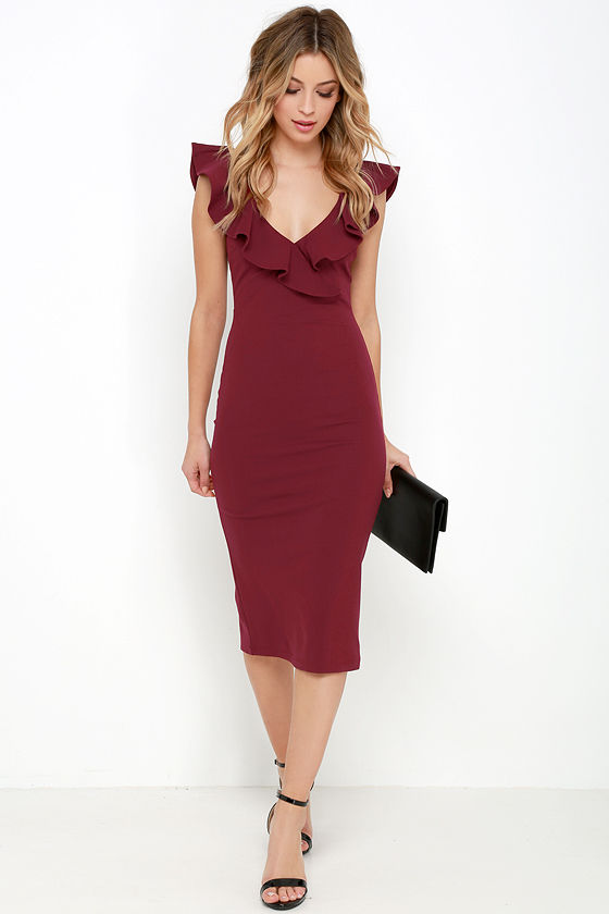 ruffle dress chic wine red dress - midi dress - bodycon midi dress - ruffle xtgfcch