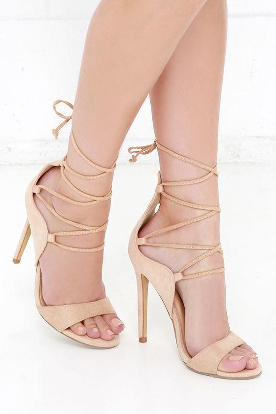 sexy beige heels - vegan suede heels - lace-up heels - $35.00 bghbpzi