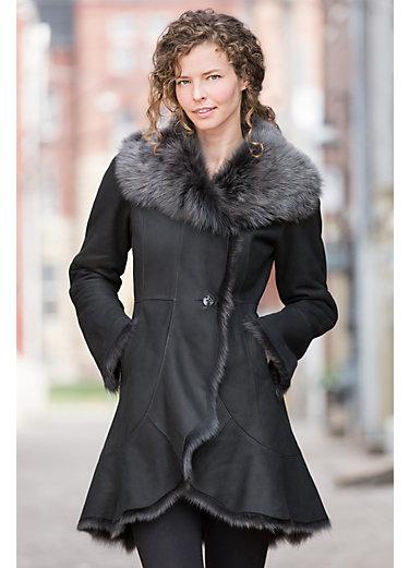shearling coats carmel shearling sheepskin coat with toscana trim zvkljeh