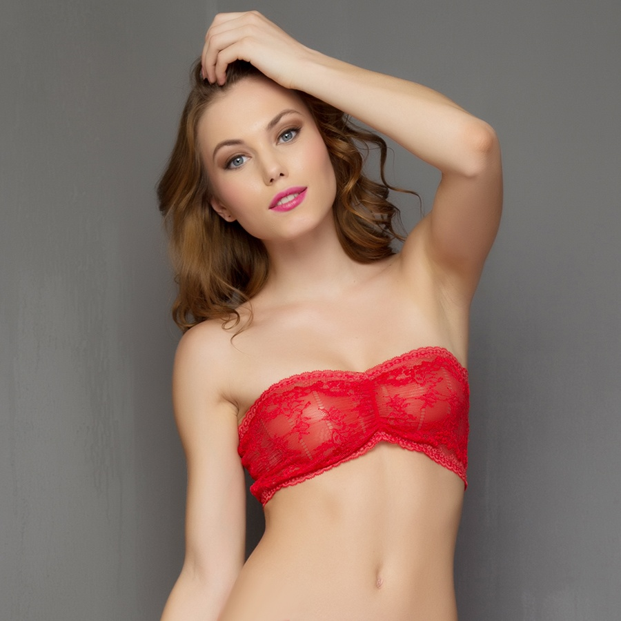sheer stretchable lace tube bra in red jwcbdav