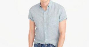 short sleeve shirt slim short-sleeve shirt in end-on-end cotton-irish linen xnxrirr