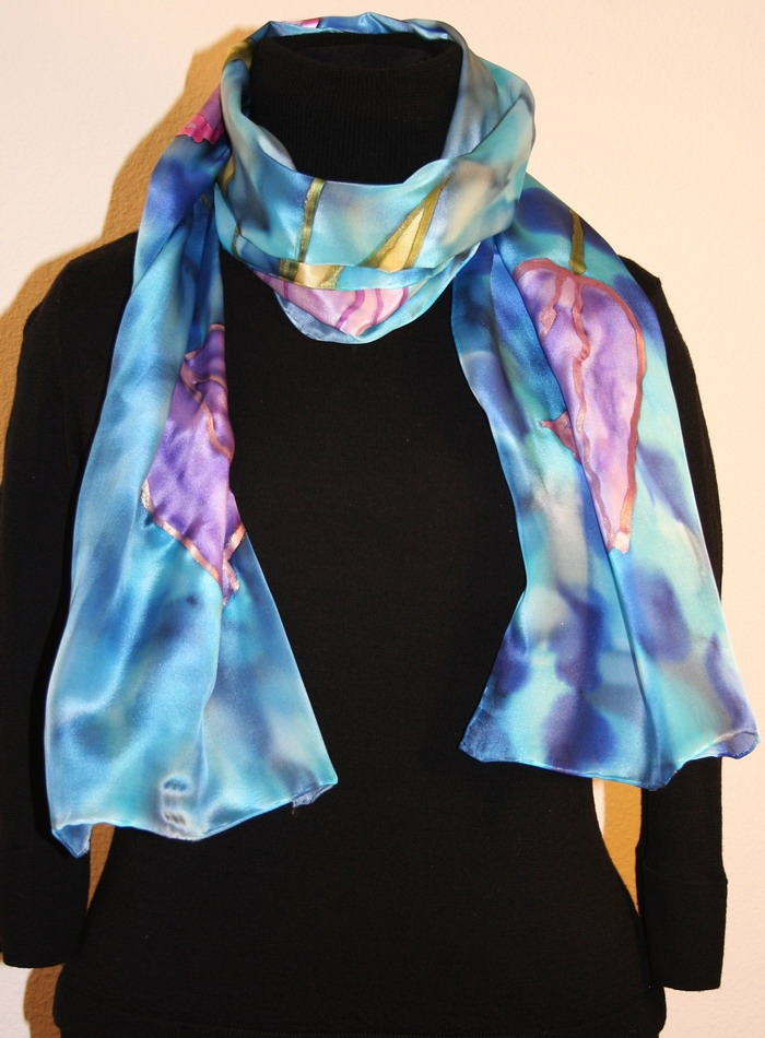 silk scarf with five tulips on a dappled background in hues of blue notwkri