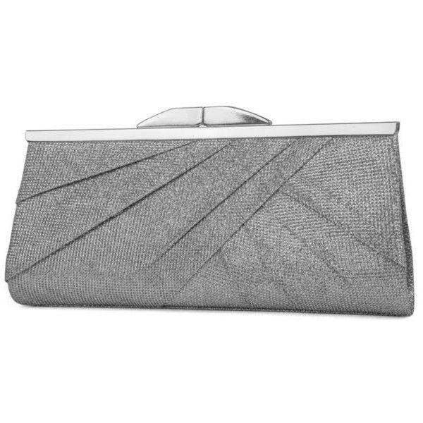 silver handbags jessica mcclintock silver sloan frame sparkle clutch ($48) ❤ liked on  polyvore zosfzcl