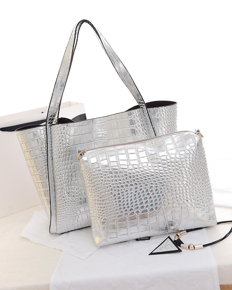 silver handbags metal color women pu leather handbags gold silver large tote shoulder bags ekpivlb