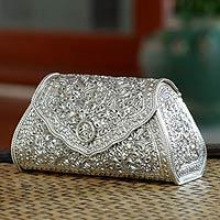 silver handbags sterling silver handbag, u0027kanok eleganceu0027 - thai sterling silver patterned  clutch handbag cdvajep