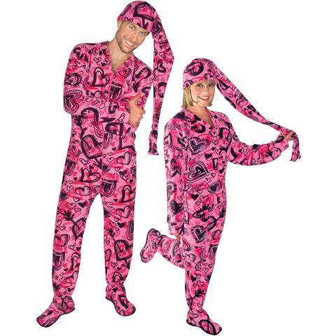 sketchy hearts fleece adult footed pajamas with drop seat and long night cap rjslisb
