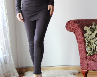 skirted wool leggings with cuff in double knit fine stretch jersey - hearth lepwnbb