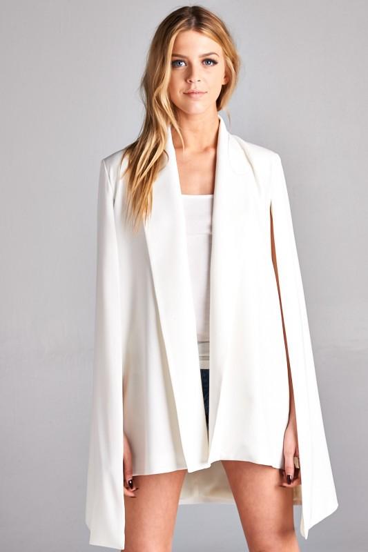solid mid length cape jacket mkoynxa