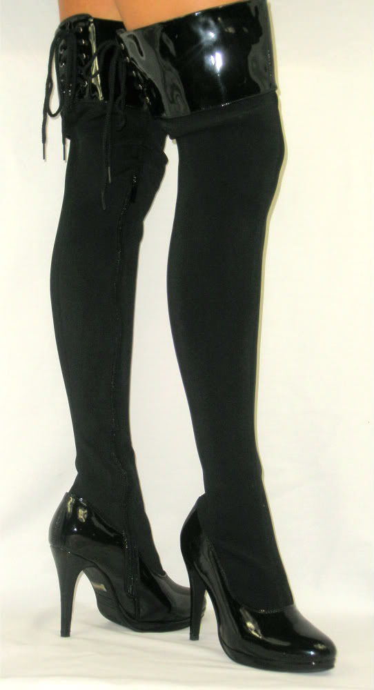 stretch boots image is loading corset-lace-up-stretch-boots-high-platform-thigh- xunhavi