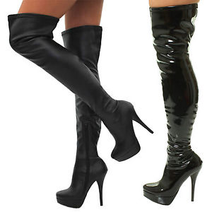 stretch boots image is loading sexy-kinky-fetish-leather-heels-thigh-high-over- msqirth