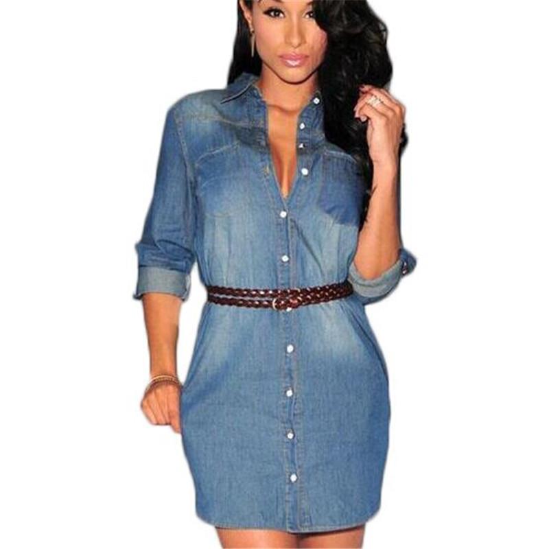 summer 2016 denim dress jeans women vintage dresses casual shirt dress sexy fxcnuui