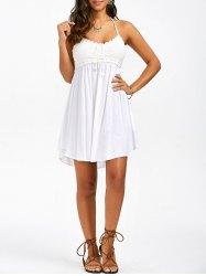 summer dresses for women crochet trim halter neck summer a line dress vnmqqiq