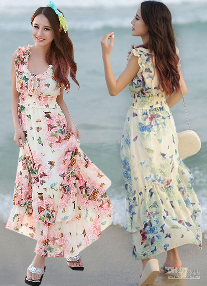 summer dresses for women summer dresses women ladies ruffles chiffon dress bohemian beach dress  floral print ekdakgy