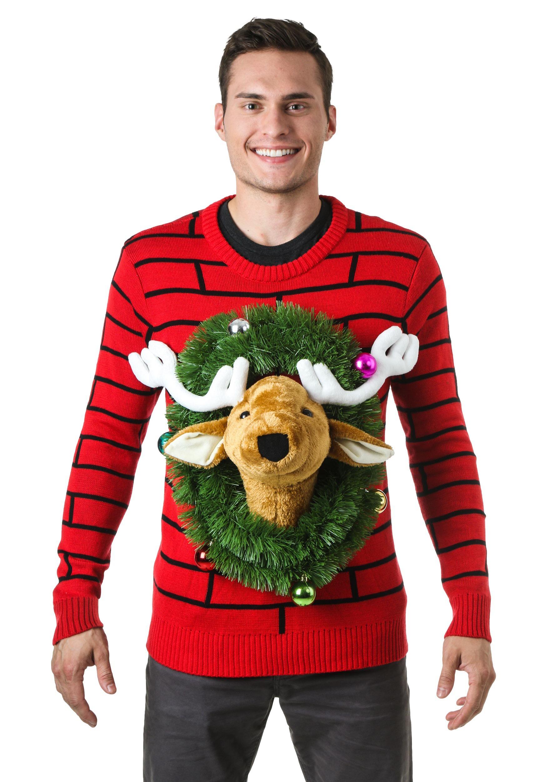 tacky christmas sweaters reindeer head ugly christmas sweater - walmart.com iopyuvc