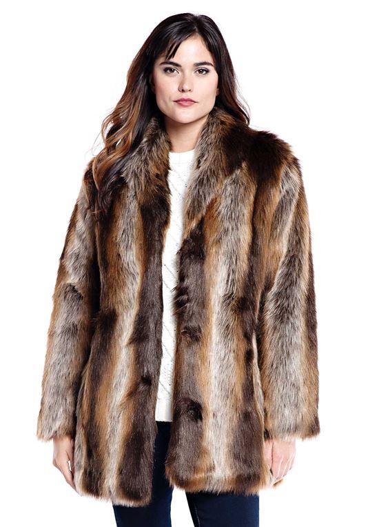 tanuki shawl collar faux fur jacket - 1 ... umzxjle