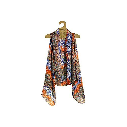 travel clothes accents by lavello sheer designer vest, cobalt/orange persian print cwucjxn