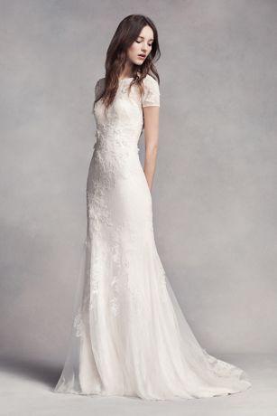 vera wang dresses long sheath romantic wedding dress - white by vera wang cojiupd