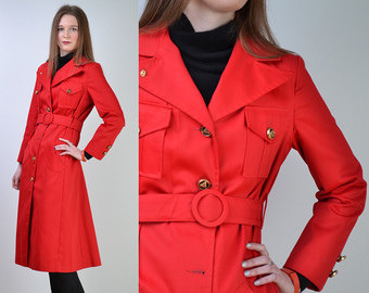 vintage 60s red trench coat | red rain military trench jacket coat | uexiedg