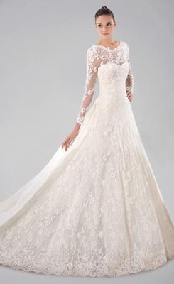vintage lace wedding dresses vintage princess watteau train scoop neckline lace wedding dress zrzuvtw