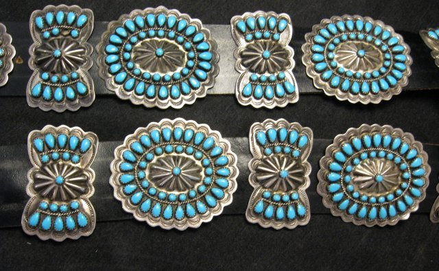 vintage pawn navajo native american turquoise cluster concho belt uqiuwgg