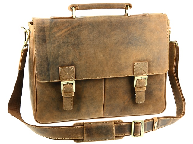 visconti bags visconti hunter leather briefcase shoulder bag - oil tan ( 18716 ) wvoiwmi
