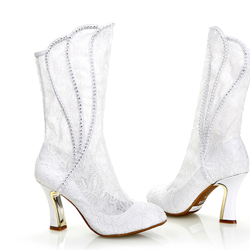 wedding boots 2016 luxury sexy woman spring autumn white lace wedding shoes high heel uqawjdl