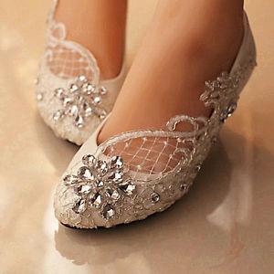 wedding flats image is loading lace-white-ivory-crystal-wedding-shoes-bridal-flats- ampmjds