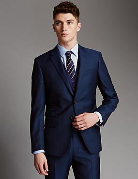 wedding suit for men blue slim fit wool 3 piece suit jhoscpe