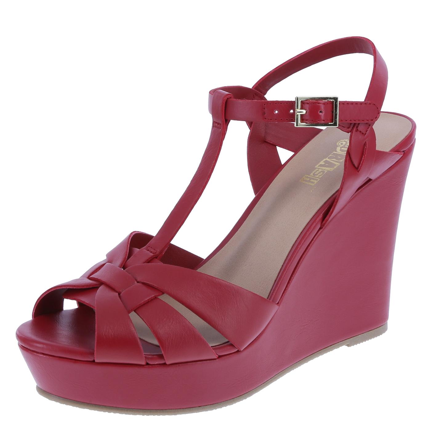 wedges shoes womenu0027s kandid t-strap high wedge sandal, red, hi-res ijqkale