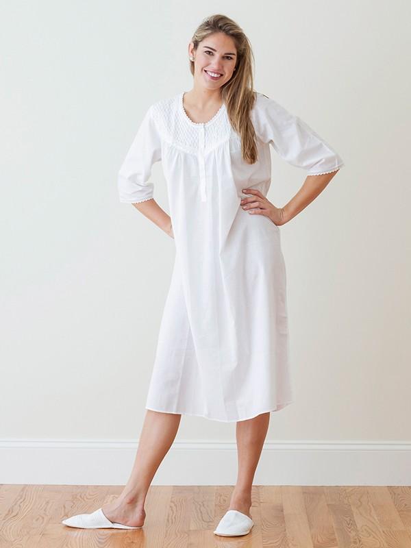 white cotton nightgown, smocking u0026 lace** - el290 liz kjwiuco