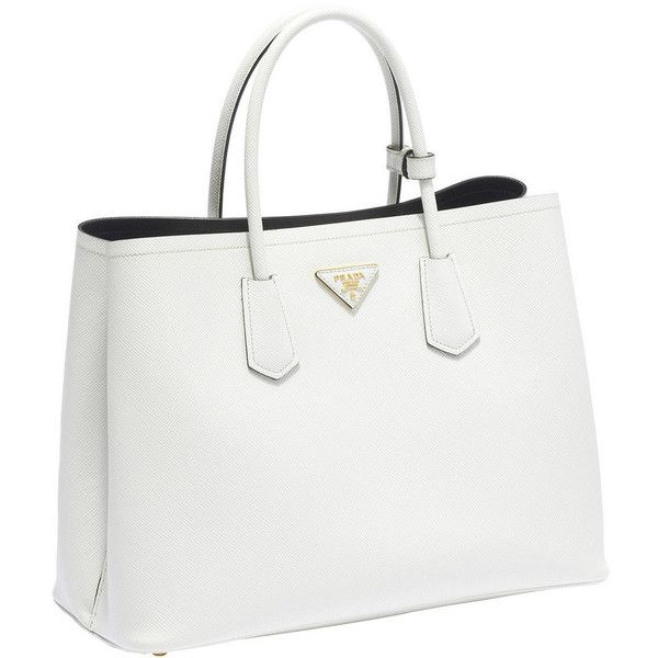 white handbags prada saffiano cuir leather tote (2 185 aud) ❤ liked on polyvore featuring ptryunn
