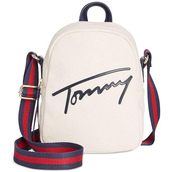 white handbags tommy hilfiger tommy script mini crossbody backpack (1.992.230 vnd) ❤ liked  on jafoxwa