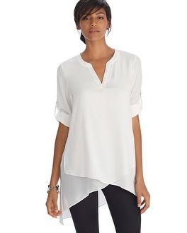 white house | black market long sleeve asymmetrical henley tunic top #whbm pfpwcdm