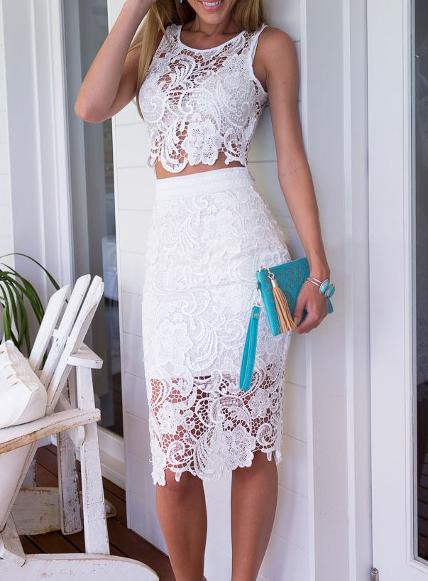 white lace skirt white sleeveless floral crochet top with lace skirt ijcwsdx