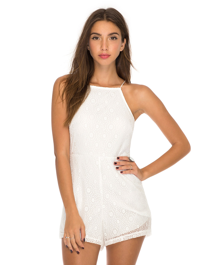 white playsuit wheeler strappy playsuit in ditsy lace white by motel ... inrltgu