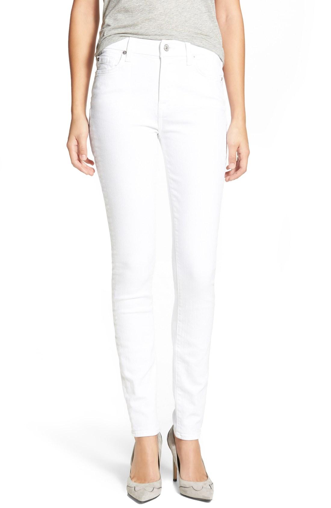white skinny jeans 7 for all mankind® u0027the skinnyu0027 skinny jeans (clean white) uehtawu