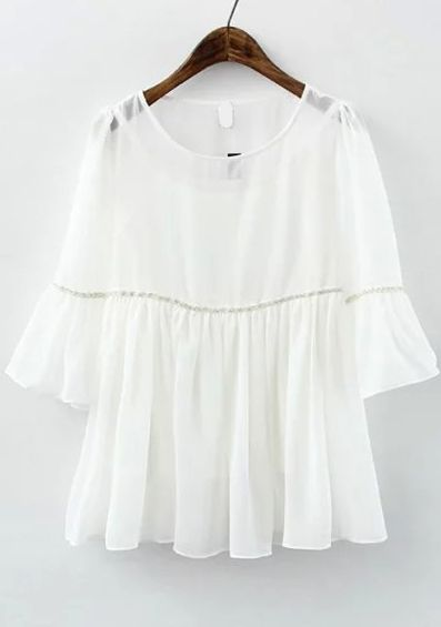 white tops buy ruffle sleeve chiffon white top from abaday.com, free shipping  worldwide - rlscacl