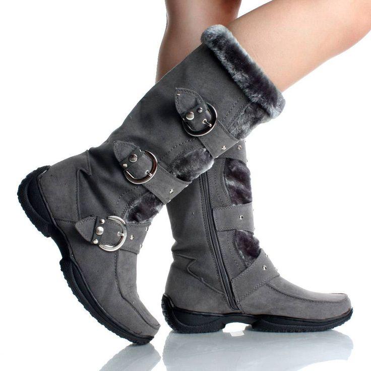 winter boots for women womens winter boots snow gray flat studded buckle cute faux suede fur cdouwok
