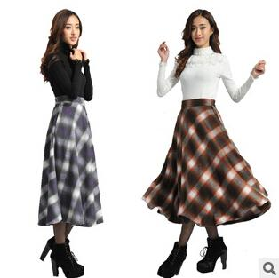 winter skirts 2017 winter women long skirt new scottish plaid woolen skirt waist plus wjeufzi