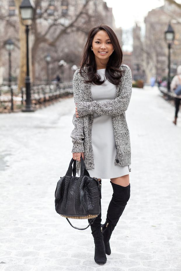 winter style french connection dress, over the knee boots, chinese laundry, slouchy  sweater, alexander uwzrkkr