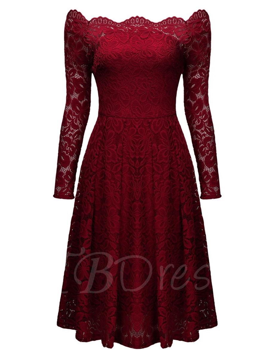 women dresses burgundy slash neck off-the-shoulder womenu0027s lace dress dpvoxla