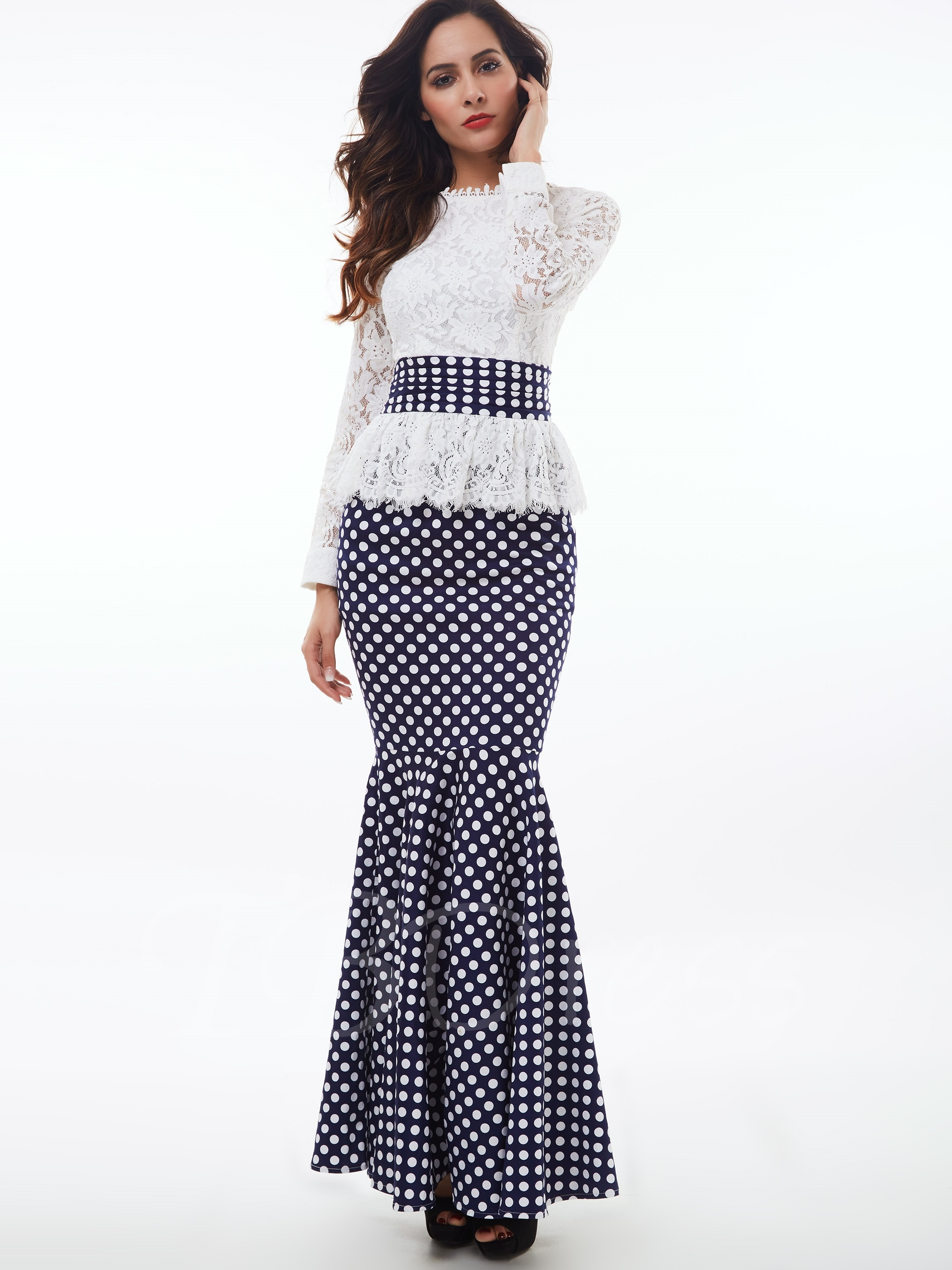 women dresses falbala stand collar lace polka dots womenu0027s maxi dress wbyxsrq