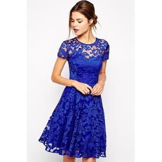women dresses kettymore women halter style round neck short sleeves dress blue vlhkzsu